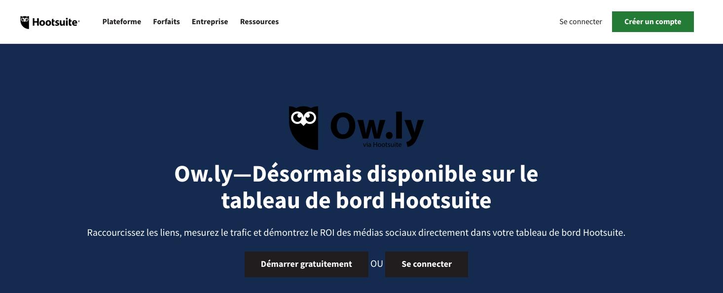 Le réducteur d'URL intégré à l'outil HootSuite